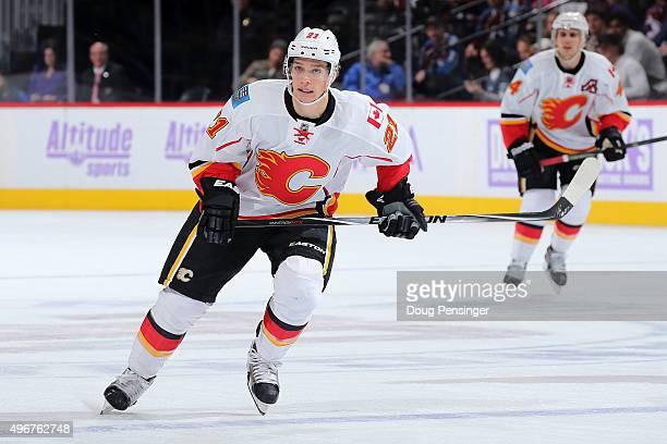 Mason Raymond of the Calgary Flames skates against the Colorado Avalanche at Pepsi Center on November 3 2015 in Denver Colorado