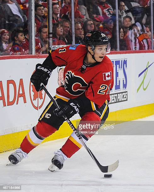 Mason Raymond of the Calgary Flames skates against the Columbus Blue Jackets during an NHL game at Scotiabank Saddledome on March 21 2015 in Calgary...