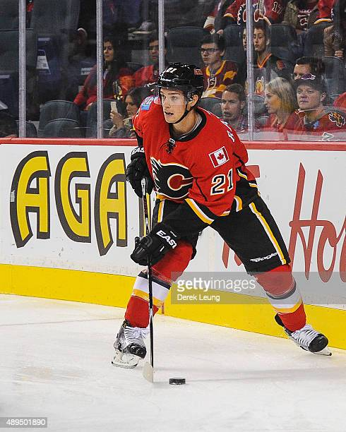 Mason Raymond of the Calgary Flames skates against the Edmonton Oilers during a preseason NHL game at Scotiabank Saddledome on September 21 2015 in...