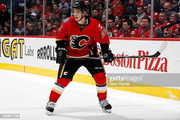 Mason Raymond of the Calgary Flames skates against the Minnesota Wild at Scotiabank Saddledome on February 18 2015 in Calgary Alberta Canada The Wild...