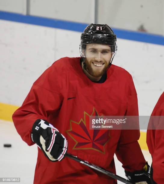 Mason Raymond of the Men's Canadian Ice Hockey Team practices ahead of the PyeongChang 2018 Winter Olympic Games at the Gangneung Hockey Training...