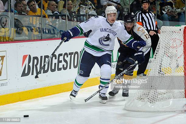 Mason Raymond of the Vancouver Canucks skates against the Nashville Predators in Game Six of the Western Conference Semifinals at the Bridgestone...