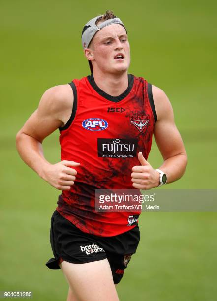 Mason Redman of the Bombers runs during the Essendon Bombers training session at The Hangar on January 12 2018 in Melbourne Australia
