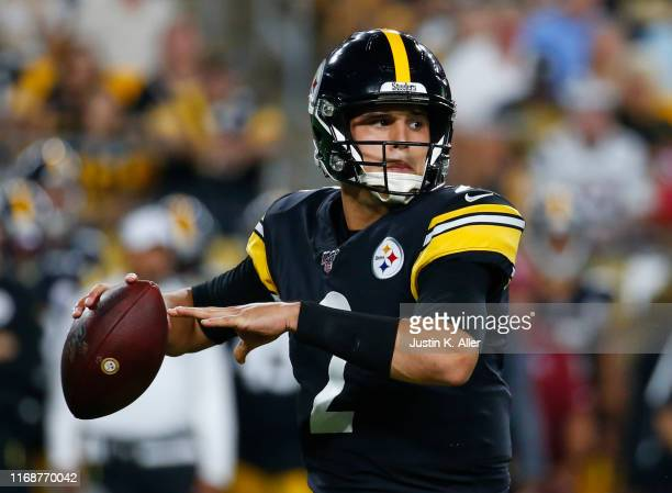 Mason Rudolph of the Pittsburgh Steelers in action during a preseason game against the Kansas City Chiefs on August 17 2019 at Heinz Field in...