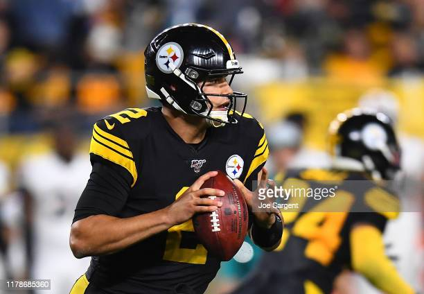 Mason Rudolph of the Pittsburgh Steelers looks to pass during the first quarter against the Miami Dolphins at Heinz Field on October 28 2019 in...