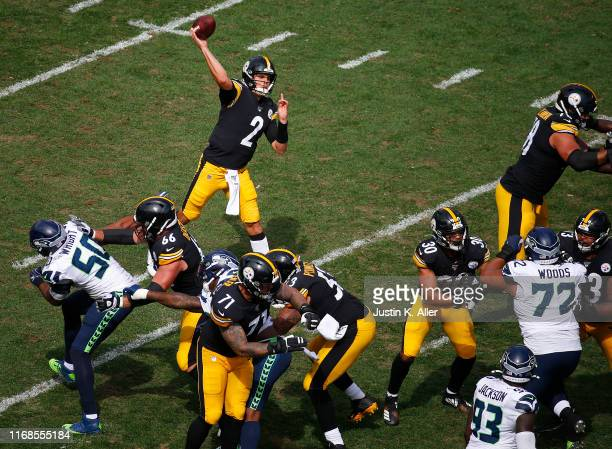 Mason Rudolph of the Pittsburgh Steelers passes against the Seattle Seahawks on September 15 2019 at Heinz Field in Pittsburgh Pennsylvania