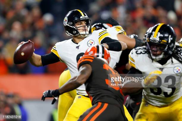 Mason Rudolph of the Pittsburgh Steelers throws a pass during the fourth quarter of the game against the Cleveland Browns at FirstEnergy Stadium on...