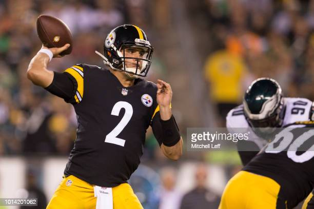 Mason Rudolph of the Pittsburgh Steelers throws a pass in the third quarter during the preseason game against the Philadelphia Eagles at Lincoln...
