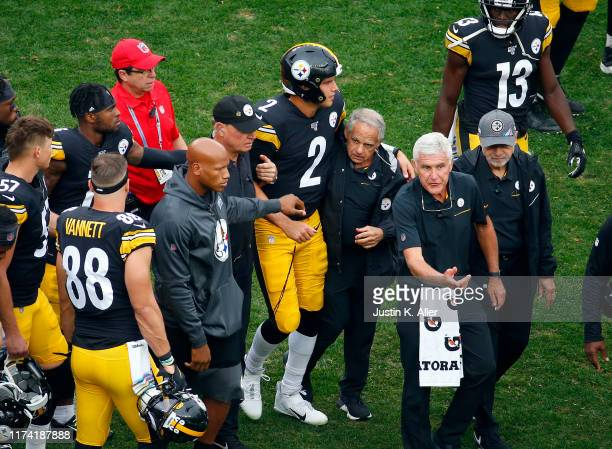Mason Rudolph of the Pittsburgh Steelers walks off the field after being injured against the Baltimore Ravens on October 6 2019 at Heinz Field in...