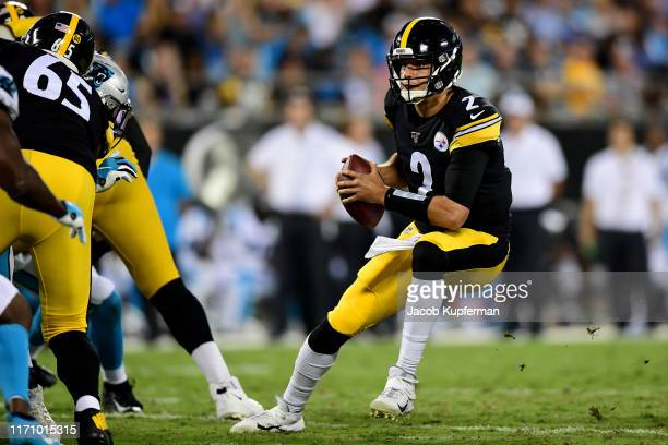 Mason Rudolph of the Pittsburgh Steelers with the ball during their preseason game against the Carolina Panthers at Bank of America Stadium on August...