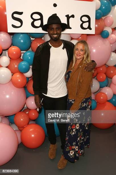 Mason Smillie and Erica Bergsmeds attend the Saira Shoes Summer Party on Shoreditch High Street on July 27 2017 in London England