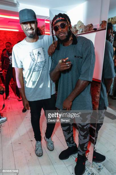 Mason Smillie and Jay Ajayi attend the worldwide launch of new clothing line YURP^ designed by NFL Player Jay Ajayi and his brother Tayo Adewon on...