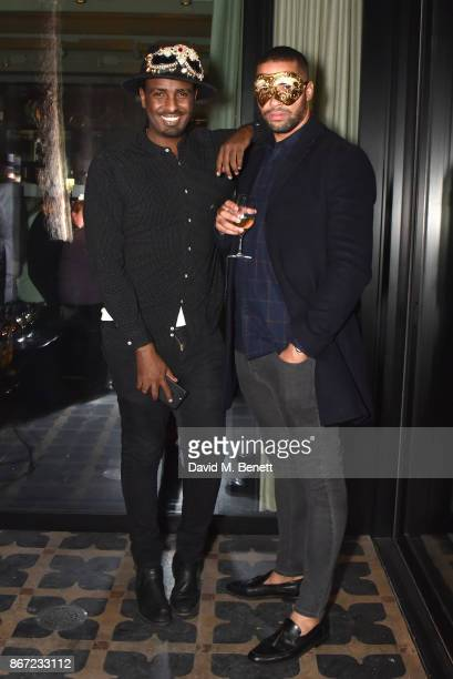 Mason Smillie and Omari Caro attends Dali's Dream Halloween party hosted by Velocity Black and The Mandrake Hotel on October 27 2017 in London England