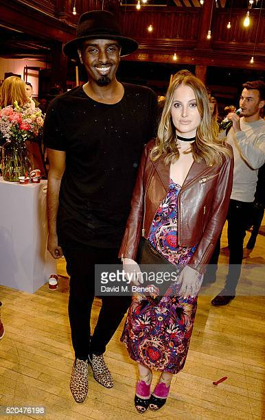 Mason Smillie and Rosie Fortescue attend the Liberty x HaagenDazs launch party at Liberty on April 11 2016 in London England