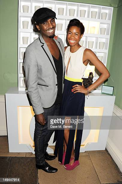 Mason Smillie and Tolula Adeyemi attend the private opening of OMEGA House OMEGA's official residence during the London 2012 Olympic Games at the...