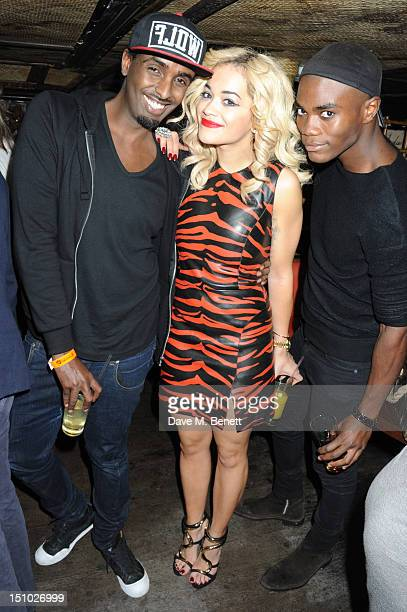 Mason Smillie Rita Ora and BB pose for a picture as they celebrate Rita Ora's performance at Scala in the Club Ciroc VIP area at Mahiki on August 30...