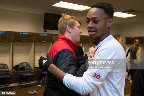 Mason Toye of Indiana University gets prepared in the locker room prior to the Division I Men's Soccer Championship held at Talen Energy Stadium on...