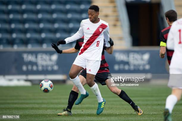 Mason Toye of Indiana University tries to control the ball against Stanford University during the Division I Men's Soccer Championship held at Talen...