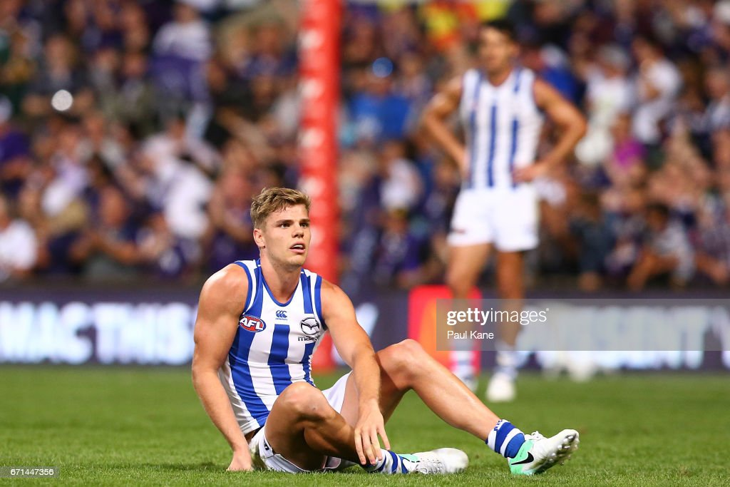 Mason Wood of the Kangaroos looks on after being defeated during the round five AFL match between the Fremantle Dockers and the North Melbourne Kangaroos at Domain Stadium on April 22, 2017 in Perth, Australia.