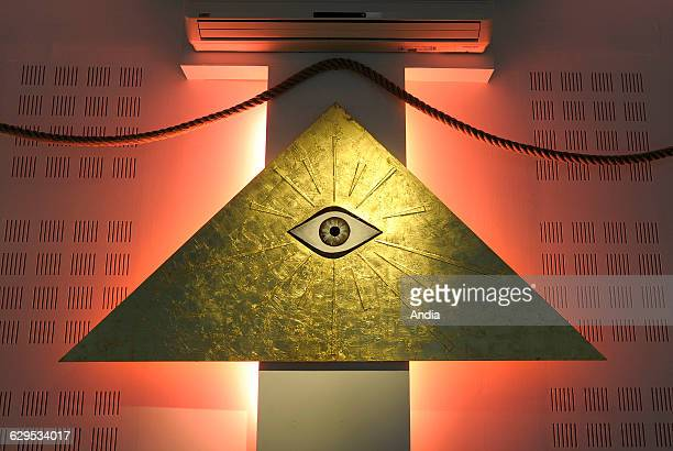 Masonic emblem the Eye of Providence in a triangle Here in the temple of the Grande Loge Nationale Francaise in Carcassonne