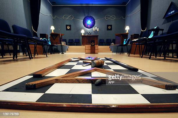 Masonic square and compasses are pictured inside a freemason hall in the French southwestern town of Castres on september 17 2011 during the European...