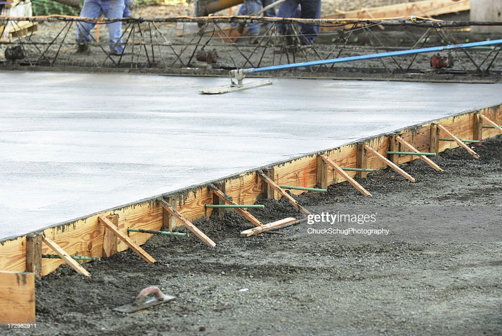 Masonry Construction Workers Concrete Foundation : Stock Photo