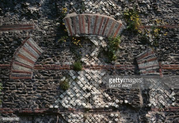 Masonry of the aqueduct of the Gier Beaunant near Lyon AuvergneRhoneAlpes France Roman civilisation 1st century AD Detail