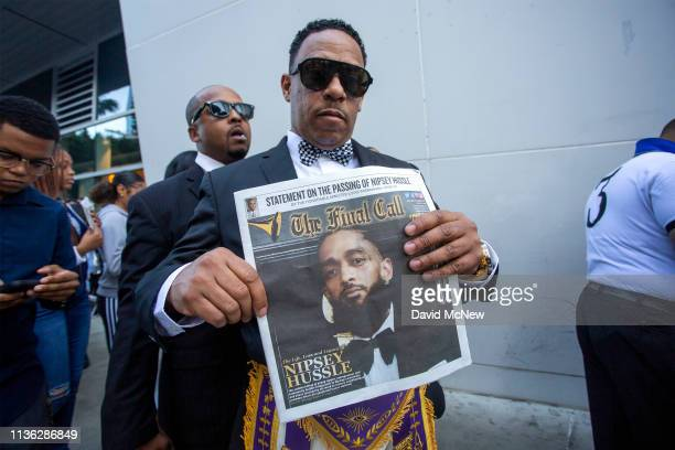 Masons attend a memorial celebration for slain rapper Nipsey Hussle at the STAPLES Center arena on April 11 2019 in Los Angeles California Nipsey...