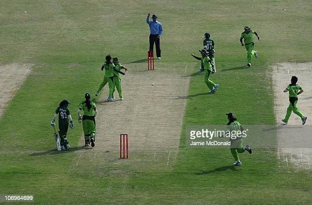 Masooma Junaid Farooqi of Pakistan celebrates the wicket of Faragan Hoque Pinky of Bangladesh during the Woman's Gold Medal match between Pakistan...