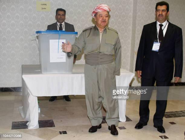 Masoud Barzani bei der Abstimmung über die Unabhängigkeit Kurdistans in Erbil