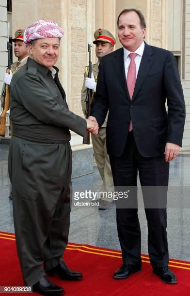 Masoud Barzani bei einem Treffen mit dem schwedischen Premierminier Stefan Löfven zu Gesprächen über die unterstützung der Kurgen im Kampf gegen die...