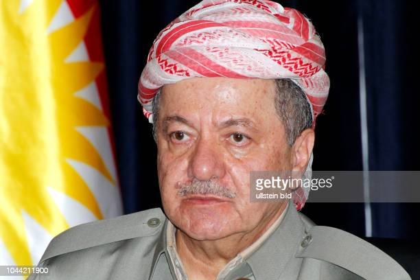 Masoud Barzani während einer Pressekonferenz zum geplanten Referendum über die Unabhängigkeit Kurdistans in Erbil Irak