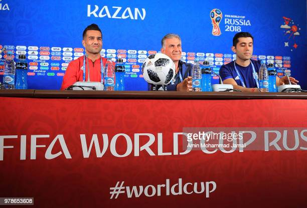 Masoud Shojaei and Carlos Queiroz head coach and manager of Iran look on during a press conference before match between Iran Spain FIFA World Cup...