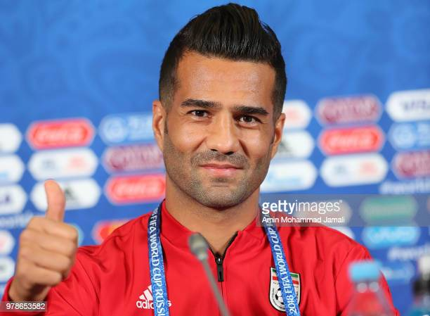 Masoud Shojaei of Iran looks on during a press conference before match between Iran Spain FIFA World Cup Russia 2018 at Kazan Arena on June 19 2018...