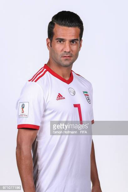 Masoud Shojaei of Iran poses during the official FIFA World Cup 2018 portrait session at Bakovka Training Base on June 9 2018 in Moscow Russia