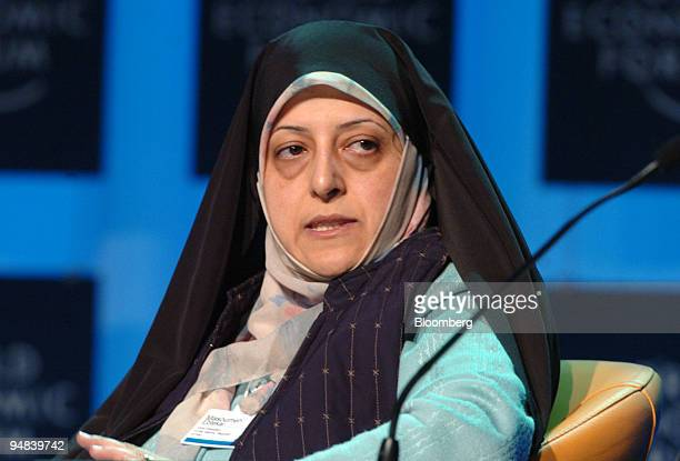 Masoumeh Ebtekar vicepresident of the Islamic Republic of Iran participates in a discussion during the World Economic Forum in Davos Switzerland on...