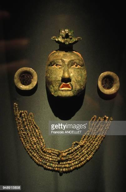 Masque funéraire Maya en jade au musée national d'anthropologie de Mexico en 1998 Mexique
