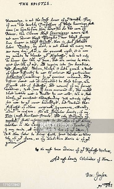 'Masque of Queens' 'Masque of Queens' by Ben Jonson 'The Epistle' with his signature BJ English Renaissance dramatist poet and actor c 11 June 1572 –...