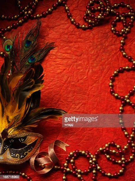 masquerade mask and beaded frame - invitation stock pictures, royalty-free photos & images