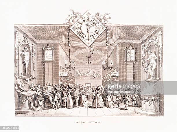'Masquerade Ticket' 18th century A masked ball with people gathered together in a hall The hands of the clock at the top are entitled Wit and...