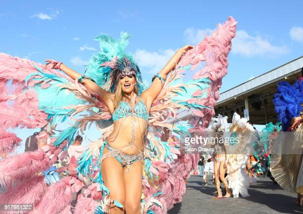 A masquerader of the mas group Harts Carnival performs during the presentation of the band titled 'Shimmer and Lace' as part of Trinidad Carnival at...