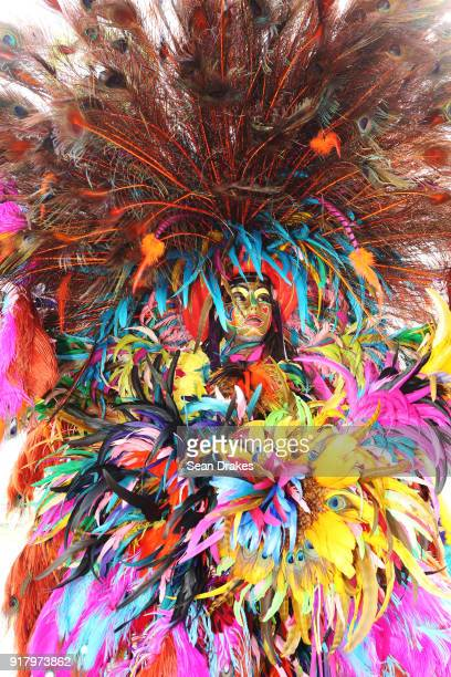 A masquerader of the mas group Legacy looks on during the presentation of the band titled 'We Jamming Still' as part of Trinidad Carnival at the...