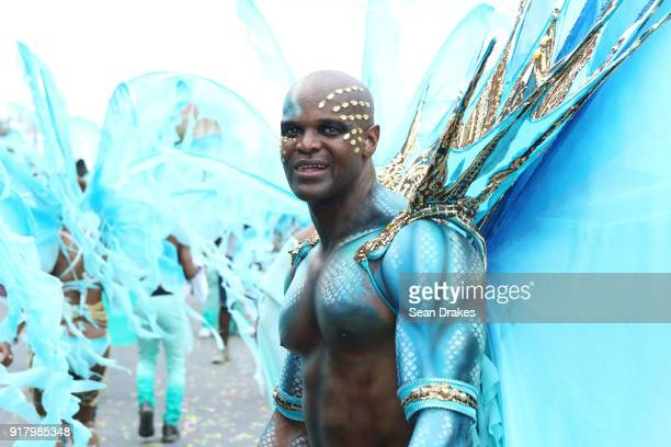 A masquerader of the mas group The Lost Tribe poses during the presentation of the band titled 'Seven' as part of Trinidad Carnival at the Queen's...