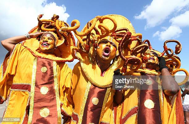 Masqueraders from the 'Dis Living Maskerade' by Mas Passion perform in the Queen's Park Savannah during the Parade of Bands as part of Trinidad and...