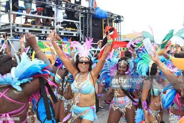 Masqueraders march in the Toronto Caribbean Carnival Grand Parade at Exhibition Place on August 5 2017 in Toronto Canada