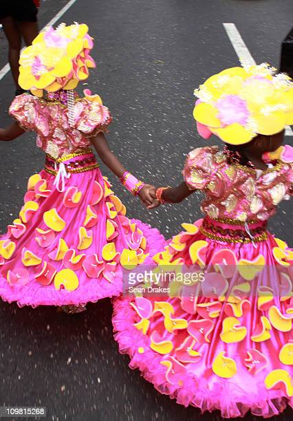 Masqueraders perform at the Junior Carnival Parade of Bands on March 5 2011 in Port of Spain Trinidad