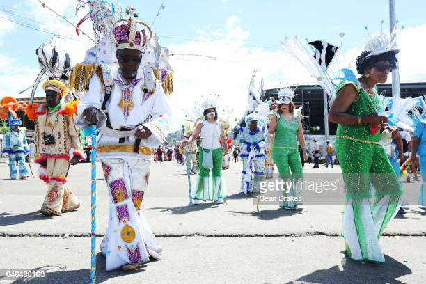 Masqueraders with Belmont Exotic Stylish Sailors present 'Sail The Caribbean' during Trinidad Carnival 2017 at the Queen's Park Savannah on February...