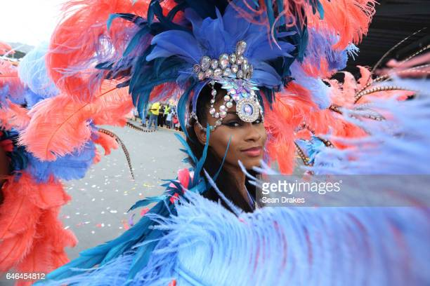 Masqueraders with Mardi Gras present 'Amazonia' in the Queen's Park Savannah during Trinidad Carnival on February 28 2017 in Port of Spain Trinidad