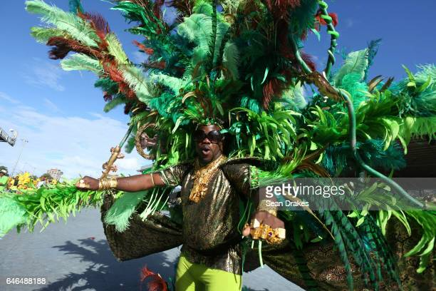Masqueraders with Ronie Caro The Mas Band present 'Fearless' during Trinidad Carnival 2017 at the Queen's Park Savannah on February 28 2017 in Port...