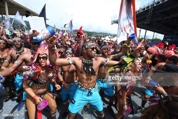 Masqueraders with Tribe mas band parade in the Queen's Park Savannah during Trinidad Carnival on February 28, 2017 in Port of Spain, Trinidad.